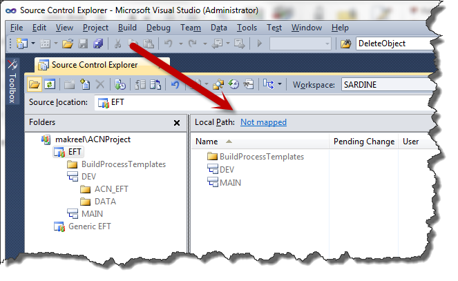 Team Explorer mapping the collection in Visual Studio