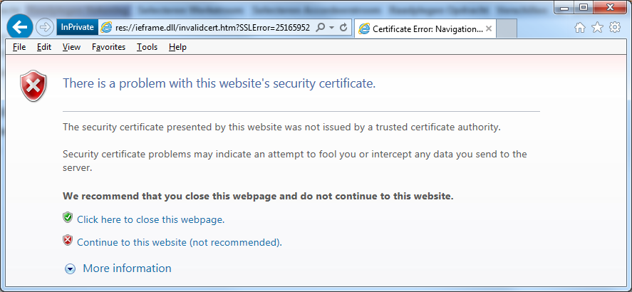 Security Certificate Page