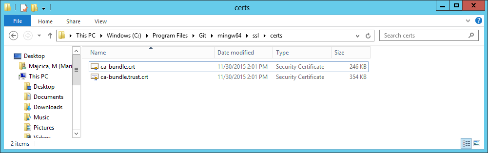 Installing self-signed certificates into Git cert store